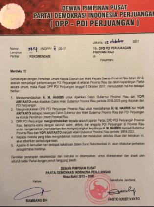 Usung Kader Golkar Harris-Yopi di Pilgubri 2018, PDIP Riau Miskin Kader