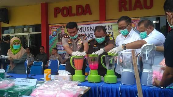 Polda Riau Musnahkan 32,51 Kilogram Sabu senilai Rp32,5 Miliar