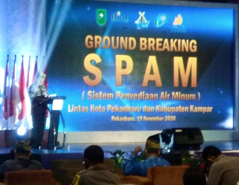 Gubri Resmikan Ground Breaking Proyek SPAM Pekanbaru-Kampar