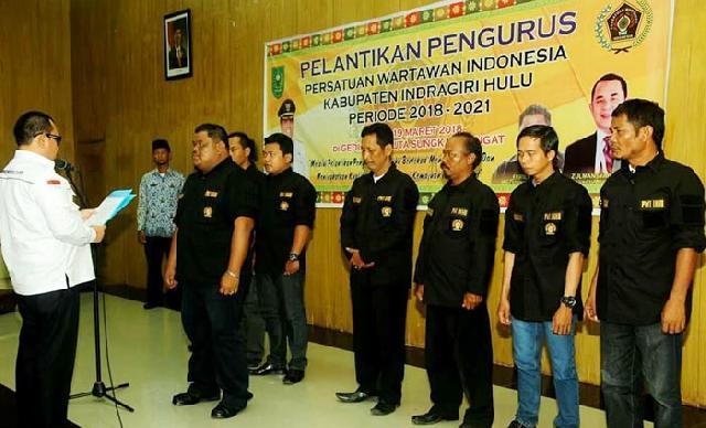 Pengurus Persatuan Wartawan Indonesia (PWI) Kabupaten Indragiri Hulu  Periode 2018-2021 Dilantik