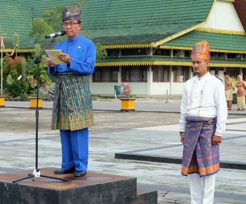 Bupati Inhil Pimpin Upacara Pencanangan Penguatan Muatan Lokal Budaya Melayu