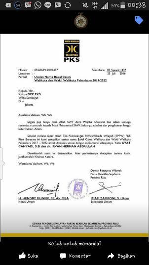 DPW PKS Rekom Ayat-Irvan Herman