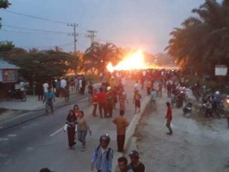 Pipa Gas Milik CPI di Balai Raja, Bengkalis Meledak