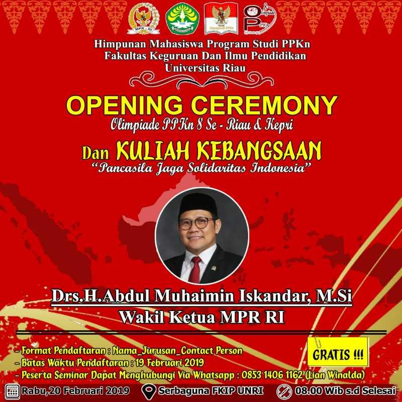 Opening Ceremony Olimpiade PPKn 8 SE-Riau & Kepri Akan dibuka Oleh Cak Imin