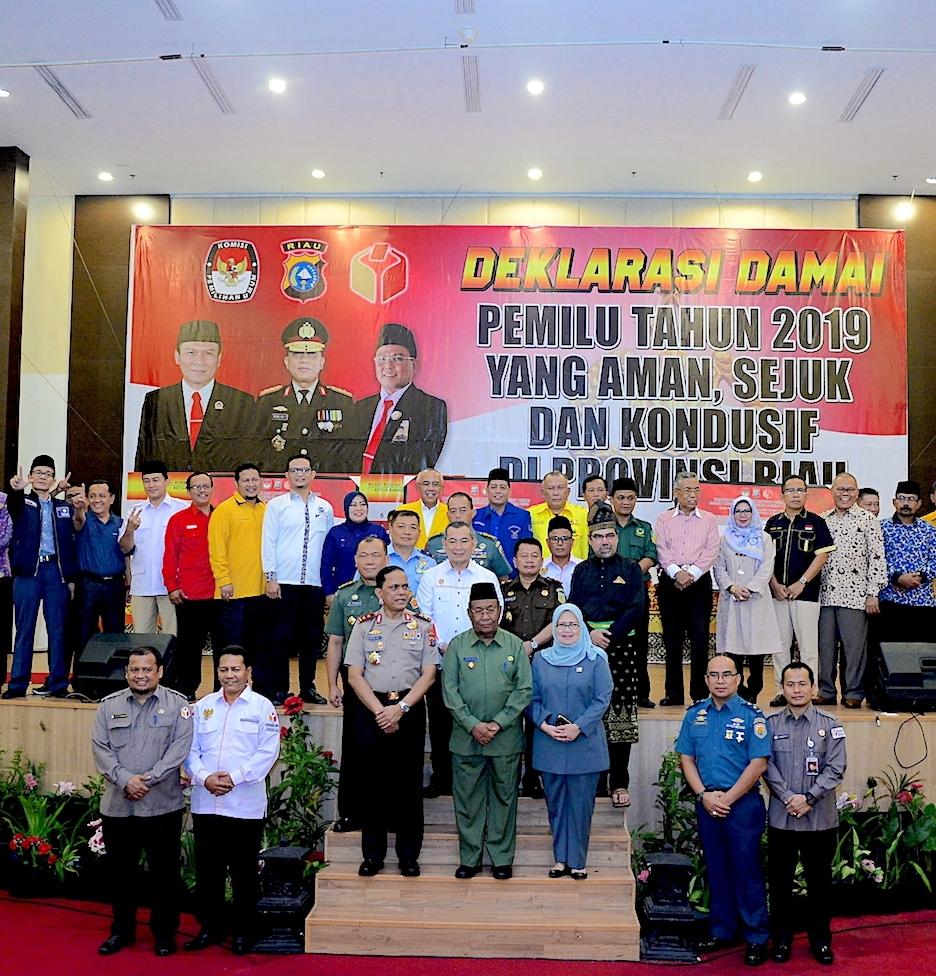 Polda Riau Ajak Seluruh Elemen Peserta Pemilu 2019 Deklarasikan Pemilu Damai