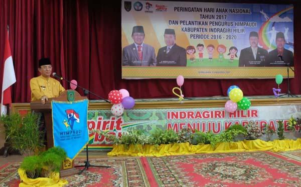 Bupati Inhil Hadiri Peringatan HAN 2017 Dan Pelantikan HIMPAUDI Kabupaten Inhil Periode 2016 - 2020