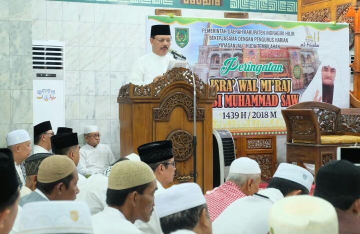 Sekda Inhil Ikuti Isra' Mi'raj Nabi Muhammad SAW Di Masjid Al Huda, Tembilahan