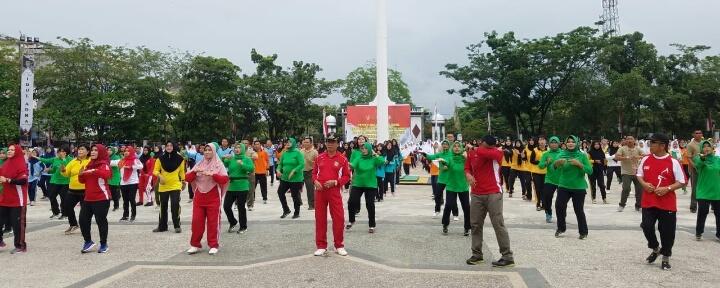 Pencanangan Hari Olahraga Nasional 2018, Bupati Inhil Ikuti Senam Bersama