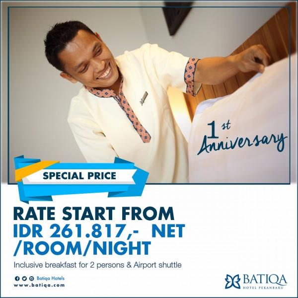 Batiqa Hotel Pekanbaru Rayakan 1st Anniversary Dengan Harga Kejutan
