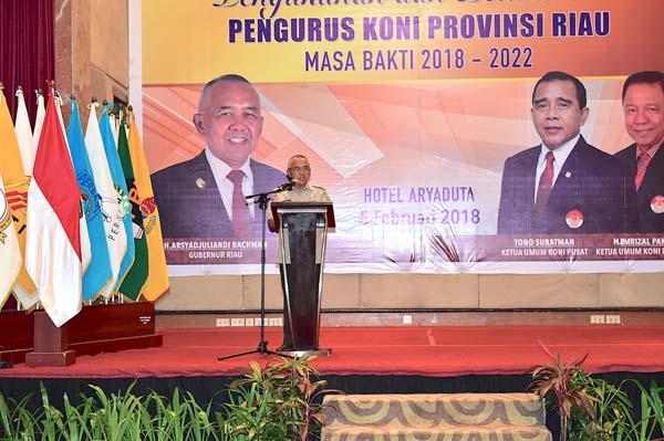 Pengukuhan dan Pelantikan Pengurus KONI Provinsi Riau Masa Bakti 2018-2022